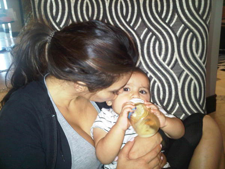 Kim Kardashian feeding her nephew, Mason, with our Born Free bottle.