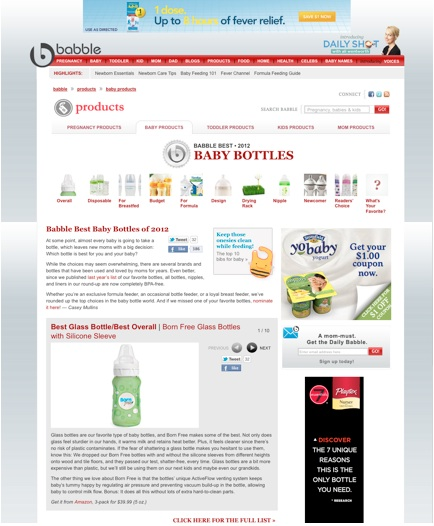 "Babble gave props to our glass bottles with a ""Babble Best 2012"" award. http://www.babble.com/products/baby-products/best-baby-bottle-feed"